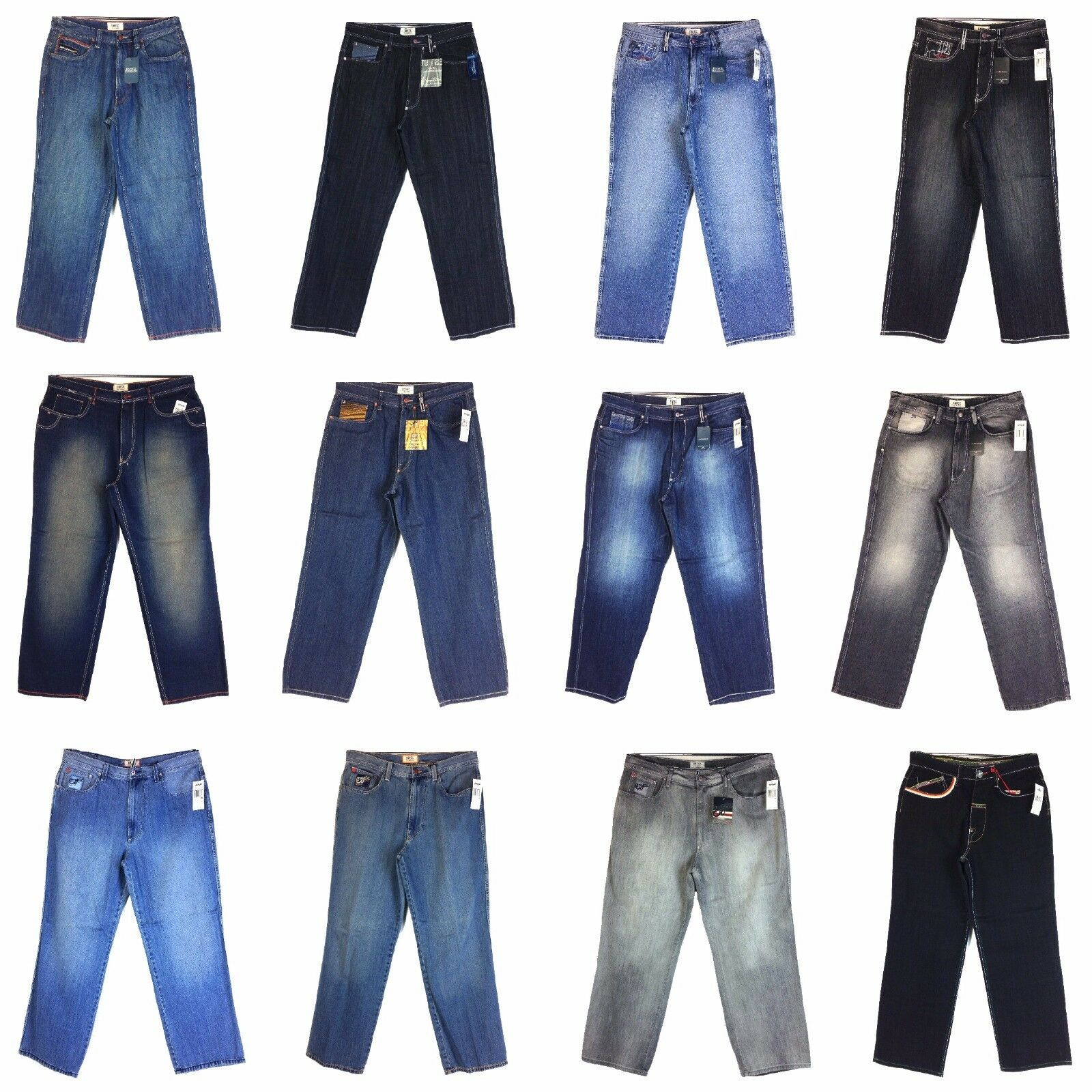 Vintage Enyce Design Men's New Jean, Old school Baggy Styles Assorted, Group [6]