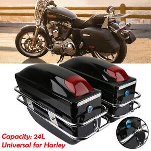 Paar-Motorrad-Seitenkoffer-Hartschalenkoffer-Werkzeugtasche-Gepaeck-Satteltaschen
