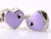925 Silver 2pcs Charms Bead LAMPWORK Heart Shaped Fit Brand European Bracel A213