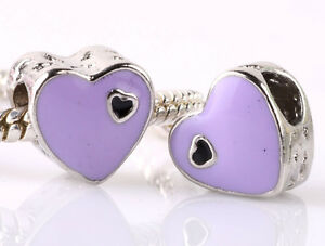 925-Silver-2pcs-Charms-Bead-LAMPWORK-Heart-Shaped-Fit-Brand-European-Bracel-A213