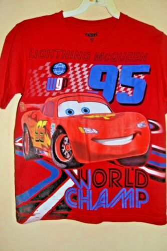 LIGHTNING McQUEEN WORLD CHAMP -BOYS SIZE 8-LICENSED SHORT SLEEVE-NWOT