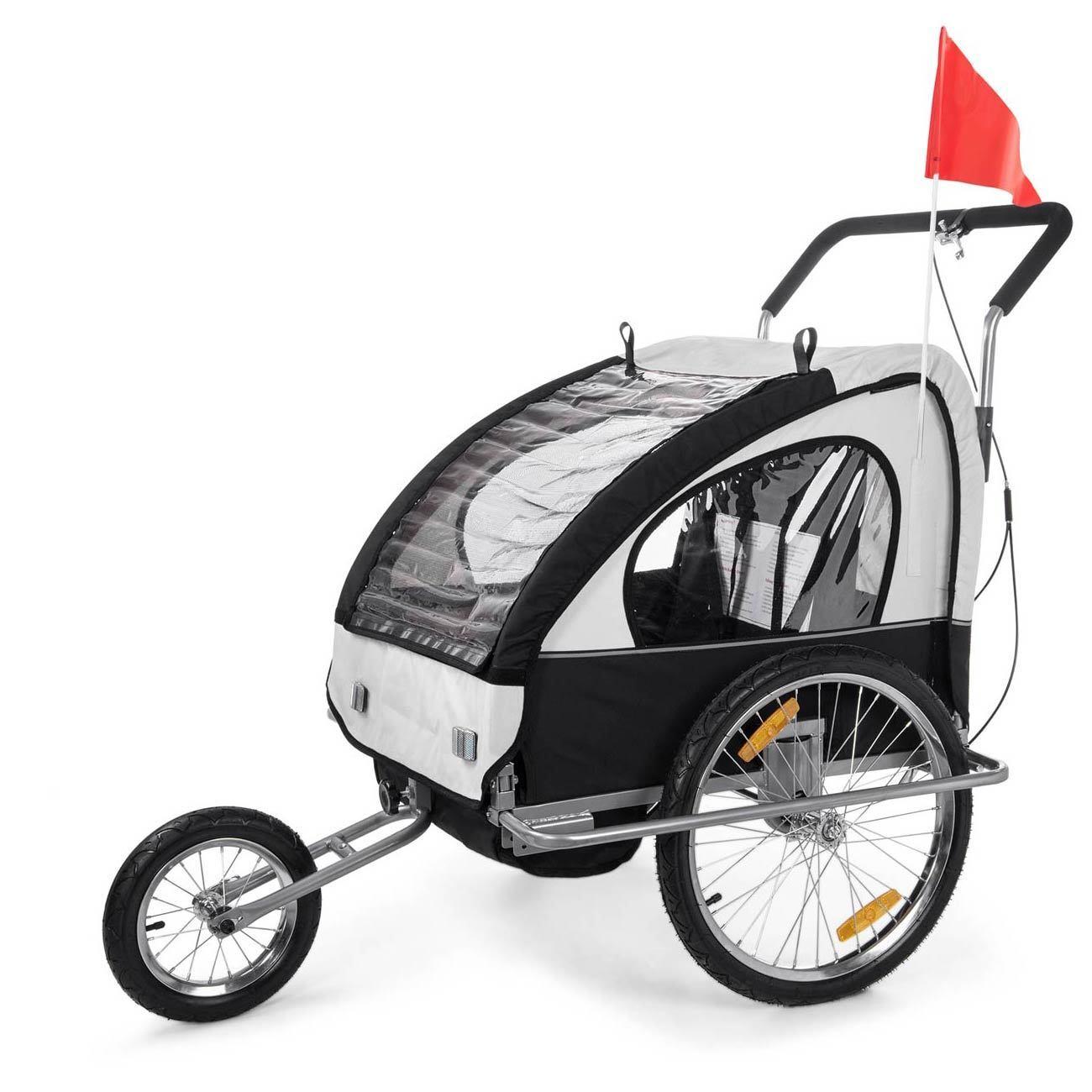 Remolque de Bicicleta para Niños Transportín Silla Cochecito blanc noir SAMAX
