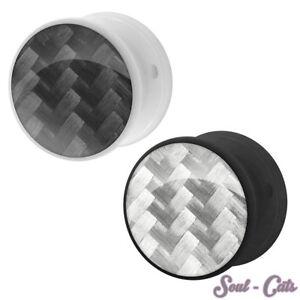 1 CARBONE plastique Tunnel Piercing oreille noir blanc 8GyMezrr-08052715-262031794