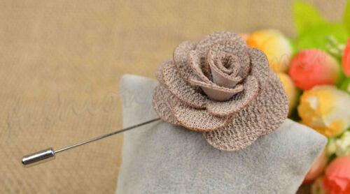 1Pcs Lapel Flower Daisy Handmade Boutonniere Stick Brooch Pin Men/'s Accessories