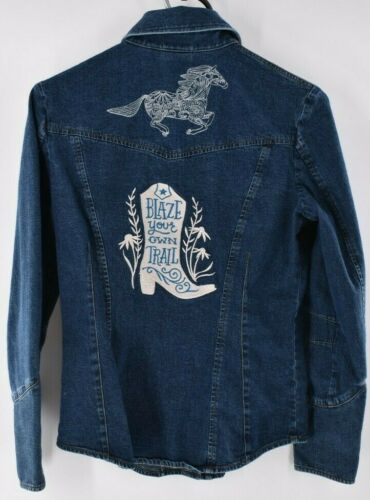 Vintage Blue Denim Jean Blouse Top Horse Western C