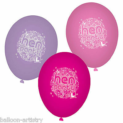 10 Hen Party Night Floral FLOWERS Groovy Pink Lilac Printed Latex Balloons