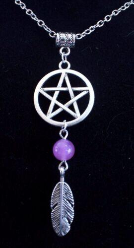 Pentagram Star Dreamcatcher Feathers Wicca Pendant Necklace Chain Dream Catcher