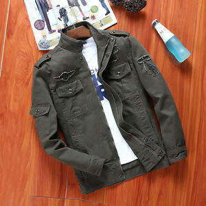 NEW-MENS-ARMY-FLIGHT-BOMBER-JACKET-OUTERWEAR-MILITARY-WARM-100-COTTON-JACKET