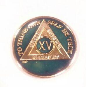 15-Year-AA-Sobriety-Coin-Medallion-Rich-Midnight-Blue-Enamel-15th-Year-XV