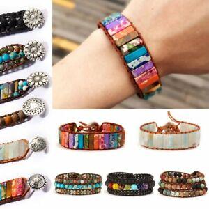 7-Chakra-Bracelet-Handmade-Natural-Stone-Beads-Leather-Wrap-Creative-Bangle-Gift