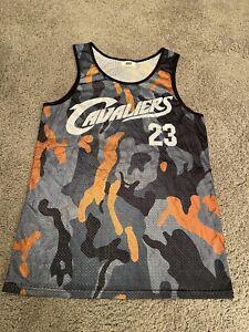 Details about Lebron James Rare Cavaliers Camo Jersey Mesh Orange Black
