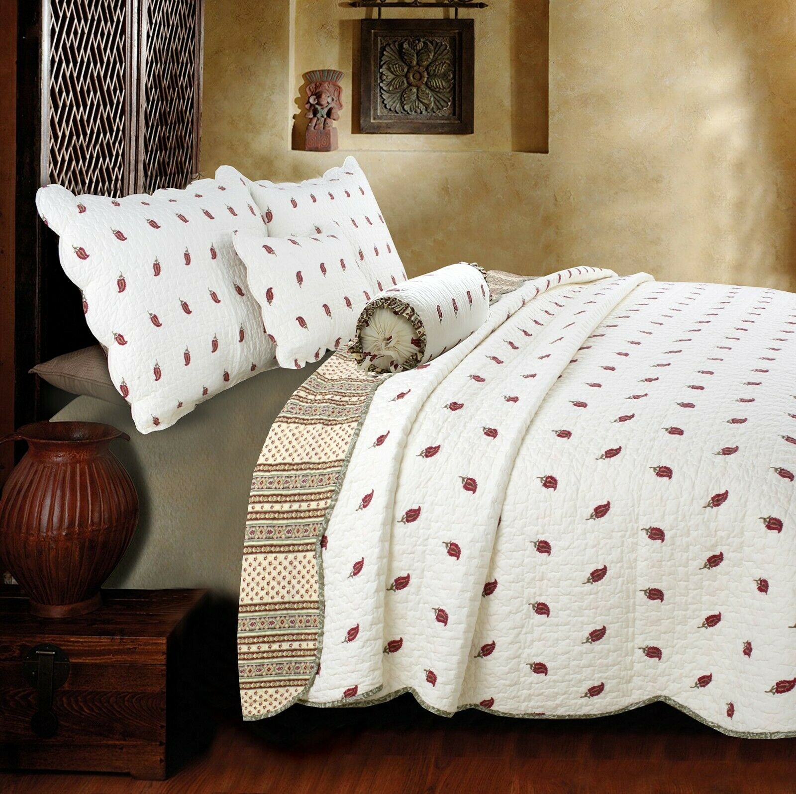 Thisnes Paisley 100%Cotton 3-Piece Quilt Set, Bedspread, Coverlet
