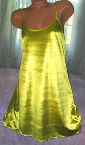 Citron-Yellow-Green-Velvet-Nightgown-Slip-Chemise-1X-2X-Short-Gown-Plus-Size
