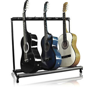 BCP-7-Guitar-Instrument-Folding-Storage-Stand-w-Foam-Padded-Rails-Black