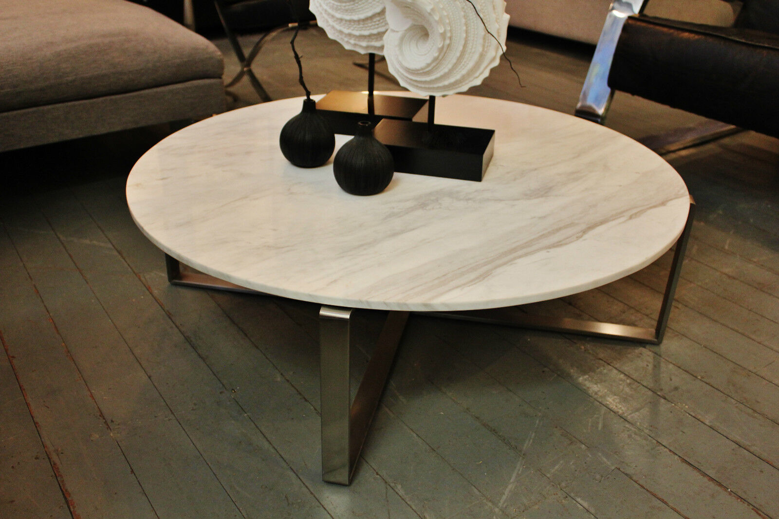 New White Marble Round Coffee Table With Brushed