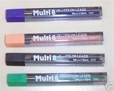 PENTEL 8 COLOR PENCIL 2MM LEAD REFILL 4 TUBES COLORS PEACH BLACK GREEN  VIOLET
