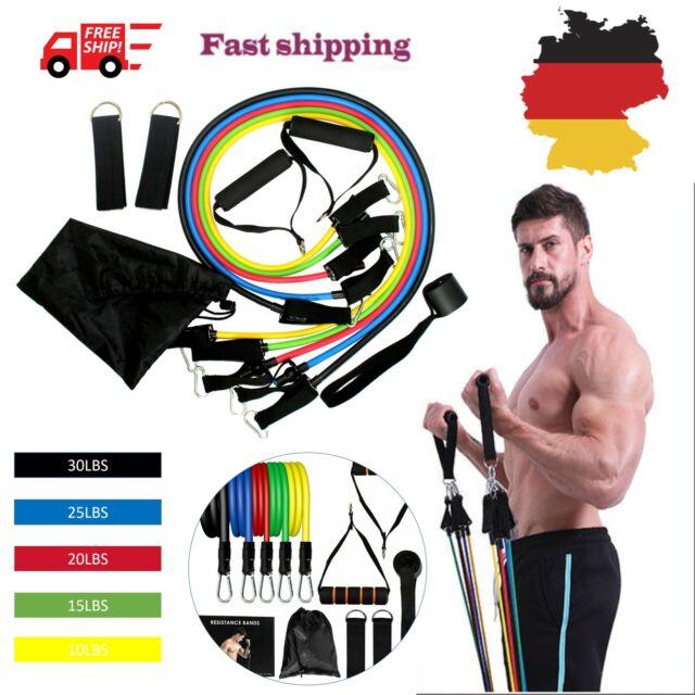 2X 11tlg Widerstandsbänder Gymnastikband Fitnessbänder Resistance Bands Set DE