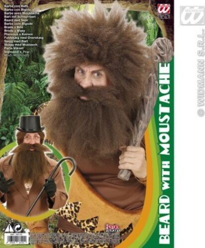 ** BROWN CAVEMAN BEARD WITH MOUSTACHE PARTY FANCY DRESS PROP NEW ** FACE HAIR