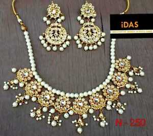Indian-Bollywood-Kundan-Necklace-Earring-Gold-Tone-Jewelry-Set-Traditional-ES
