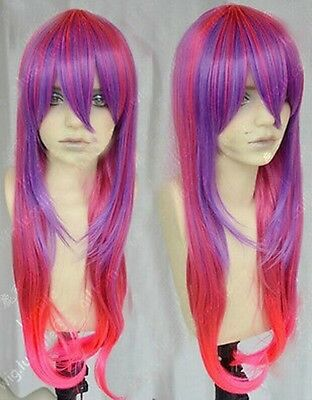 Hot Sell!  Fashion long Red purple pink Mix Cosplay Wavy Wig   A93