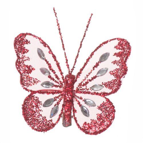 Clip en mariposas pequeñas Brillo Diamante Nylon Muchos Colores Floral//Bodas