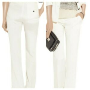 Womens-3-1-Phillip-Lim-Pants-Trousers-0-Ivory-Cream-100-Silk-High-Rise-Wide-Leg