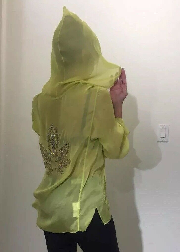 Lucien Pellat Finet Silk Sheer Crystal Studded Leaf Hooded Blouse Sz Small