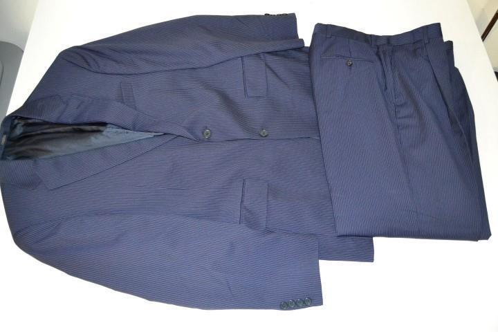 HART SCHAFFNER MARX GOLD TRUMPETER NAVY Blau PINSTRIPED 2 BUTTON SUIT SIZE 39R