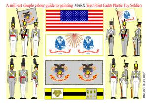 Marx-Cadets-60mm-Unpainted-Plastic-figures-amp-paint-guide-2-sets-18-figures