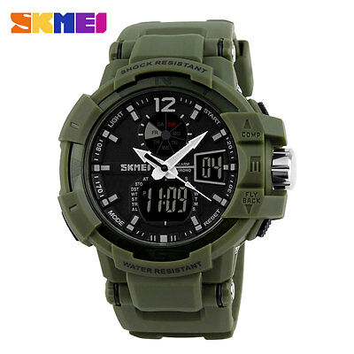 Military Sport SKMEI Mens Army Waterproof Green Rubber Strap Quartz Wrist Watch