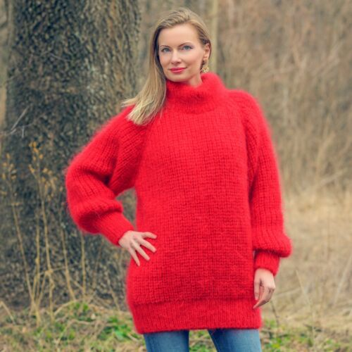 Ribbed Mohair Handmade Supertanya Turtleneck Hand Jumper Knitted Sweater Red xUHyFI