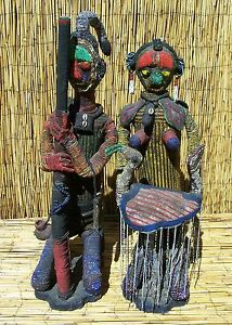 african pair of beaded yoruba figures from nigeria 34 and 31 tall