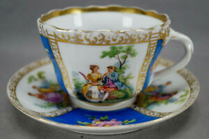 Dresden Hirsch Hand Painted Watteau Courting Couple Cobalt Gold Tea Cup & Saucer