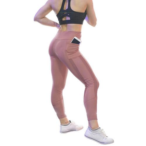 Damen High Waist Leggings Laufhose Fitness Hosen Taschen Slim Fit Sport Yogahose