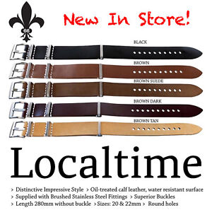 Wrap-Around-4-Ring-Stitched-Leather-Watch-Straps-20-amp-22mm-New-Colours-amp-Styles
