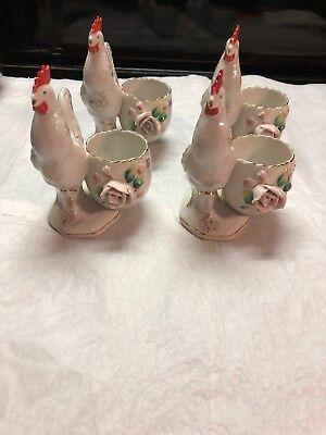 Set Of 4 Vintage Sterling China Japan Rooster Egg Cups