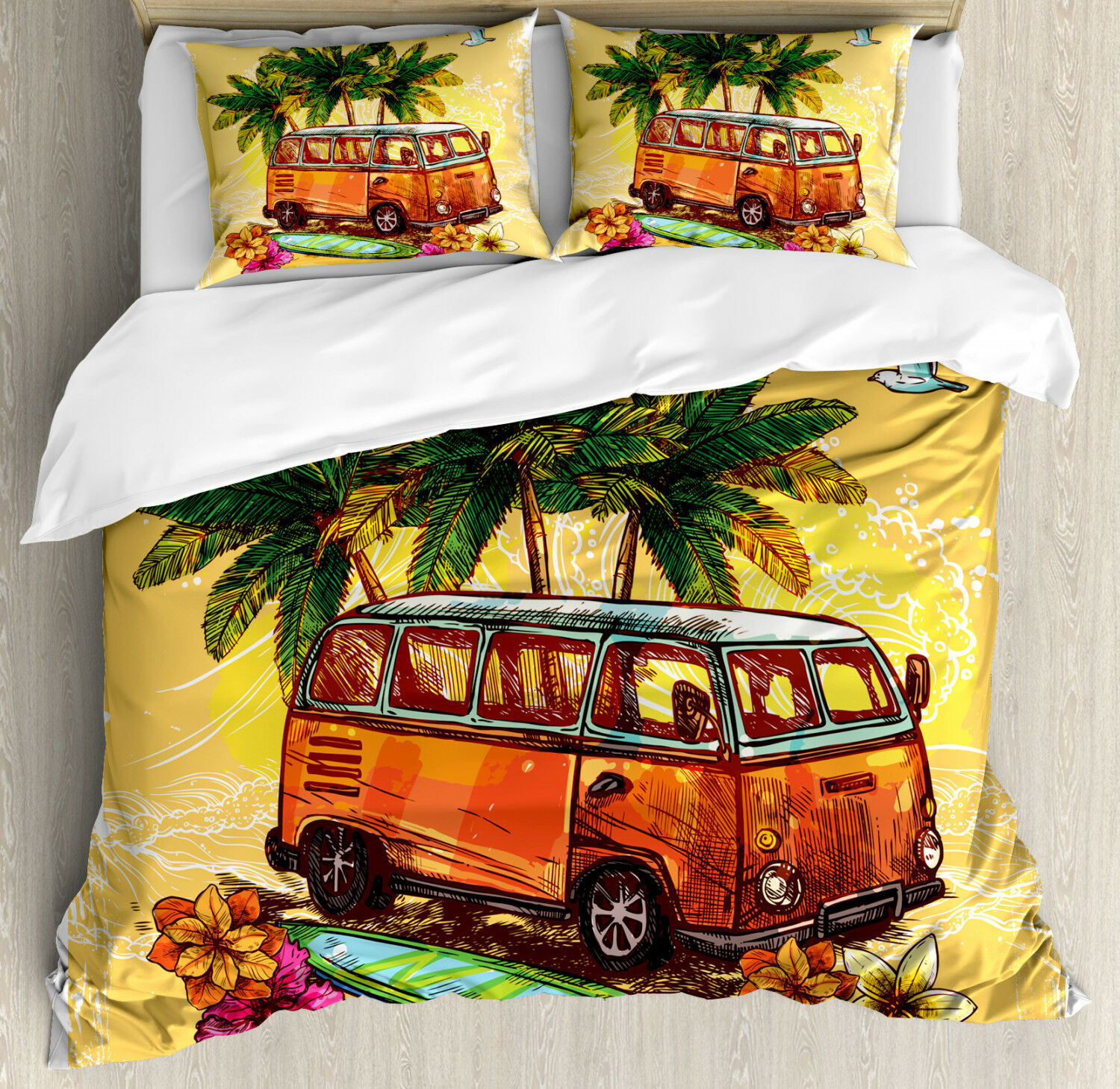 Sketchy Duvet Cover Set with Pillow Shams Hippie Old Exotic Bus Print