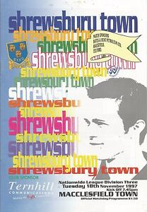 Football-Programme-Shrewsbury-Town-v-Macclesfield-Town-Div-3-18-11-1997