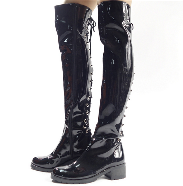 Mens Black Patent Leather Low Heels Over Knee Thigh Boots Clubwear Dancing shoes