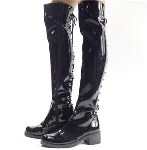 Hommes Noir Cuir verni Bas Talons Hauts Cuissardes Thigh Bottes Clubwear Danse Chaussures