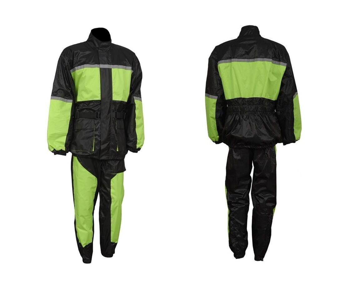 Hola Vis Lluvia Traje Impermeable Chaqueta de  Abrigo de Lluvia Conjunto Pantalón Forro de malla resistente  ganancia cero