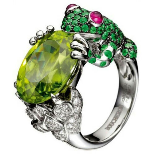 Creative Grenouille Bague Mariage Band strass cristal Simulé Bridal Jewelry FC