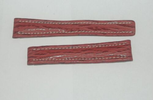 Breitling Leather Wrist Band Band 16MM 1614 for Folding Clasp New Red