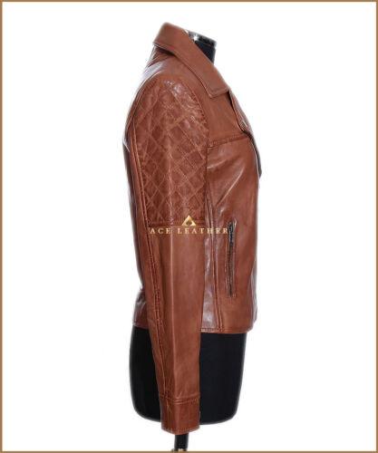 Erica Ladies in pelle di vera Giacca Style Waxed Biker Tan Fashion agnello New raHwqrE