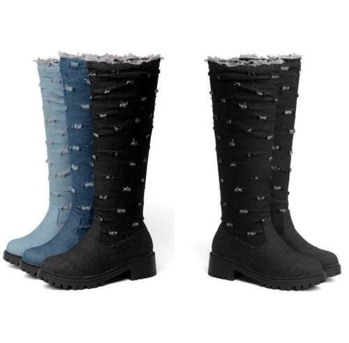 Details about  /Womens Mid Calf Denim Boots Pull On Non-slip Round Toe Pumps Size 34-52 lf20