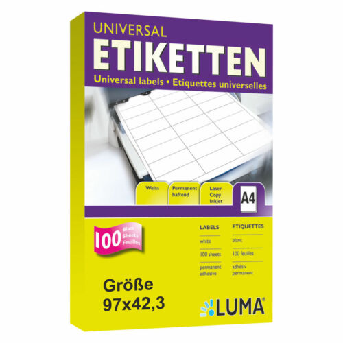 300 Etiketten 97x42,3 mm 25 Blatt A4 Klebepapier Weiss 97x42 Luma Vielzweck