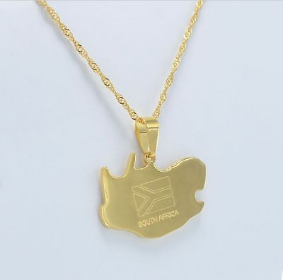 Madagascar Africa Map Country Malagasy 18K Gold plated Necklace Chain Pendant