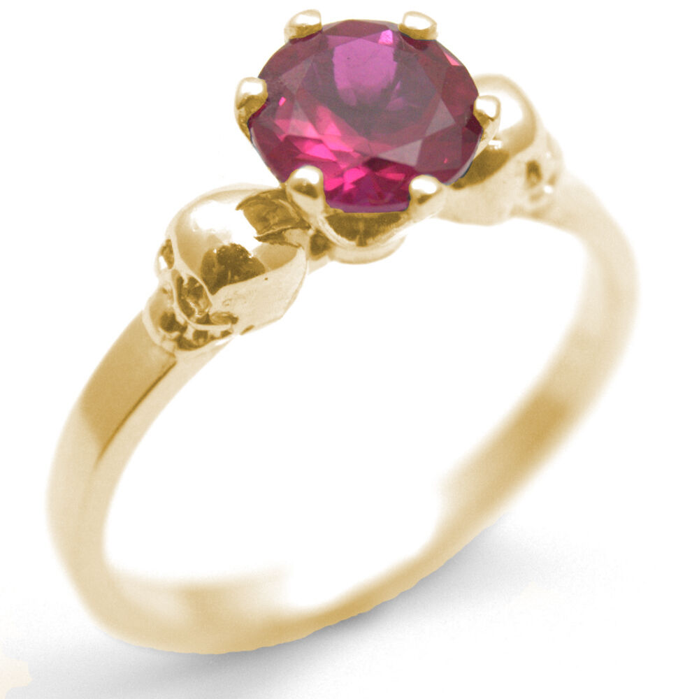Skull Ring 9ct gold 1ct Ruby Diamond-Unique Hand Crafted  Engagement Ring