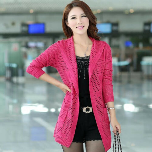 Sweet Knitted Hooded Sweater Coat Girl Hollow Cardigan Slim Fit Midi Hot Women
