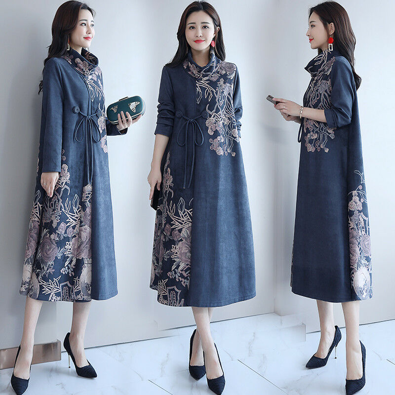 Womens Leather Suede Coat Medium-long Printing Over The Knee Knee Knee Loose Floral D50 46f690